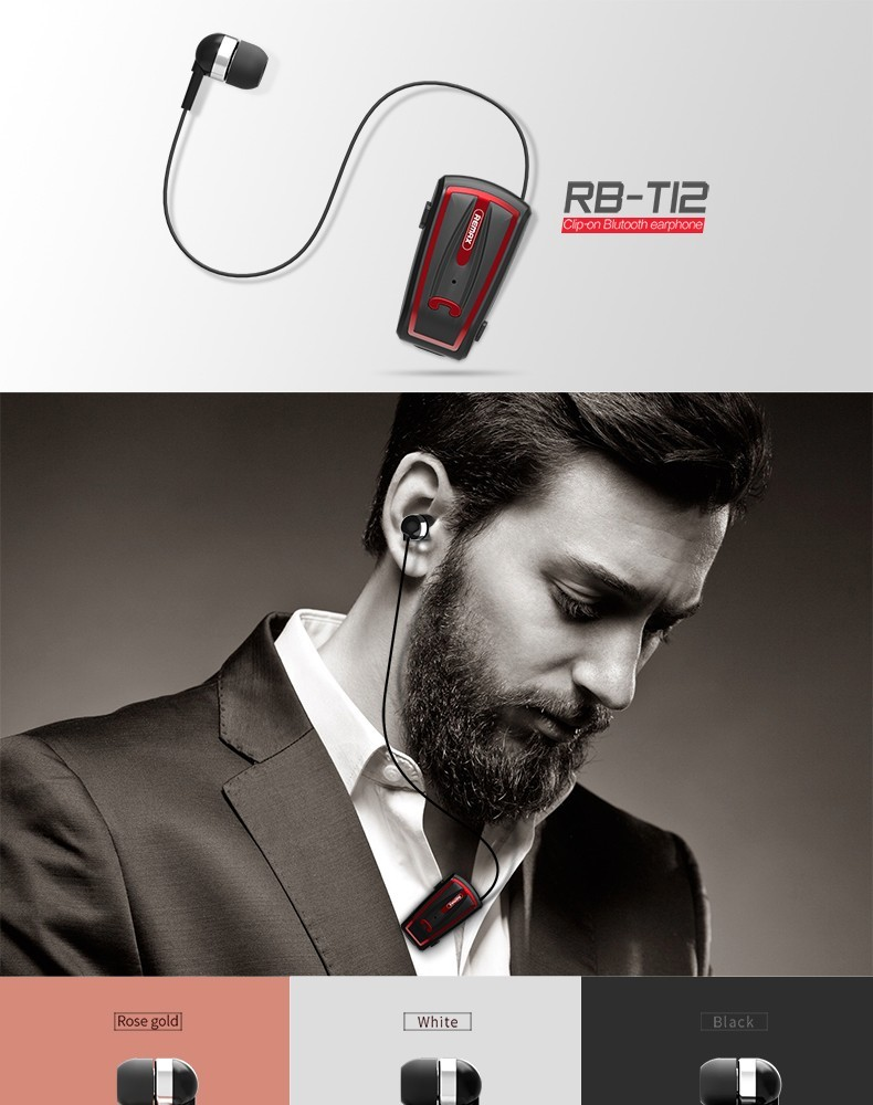 REMAX CLIP-ON BLUEATOOTH EARPHONE / RECEIVER RB-T12
