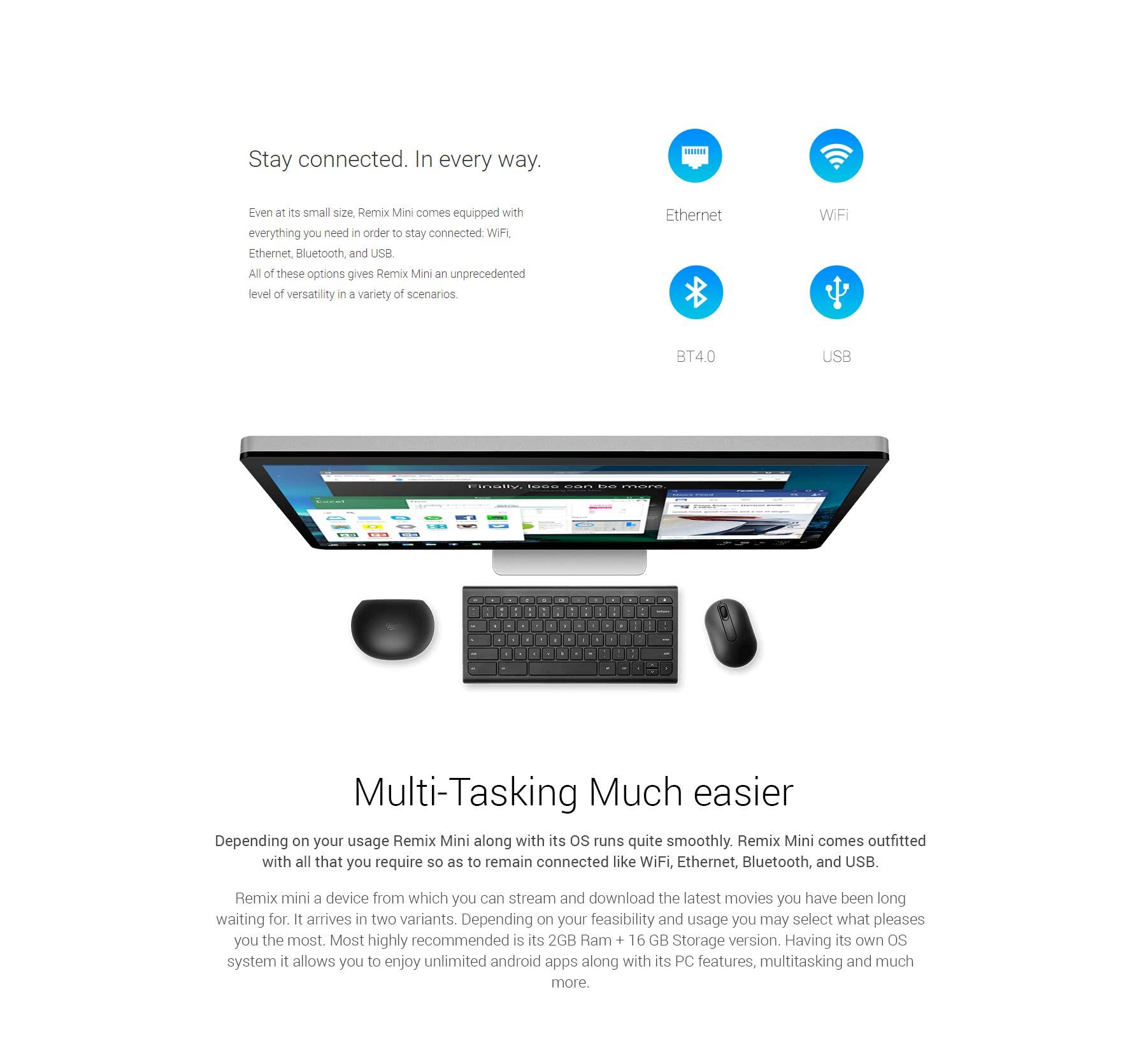 REMIX MINI WITH KEYBOARD (Smart TV, Gaming Station & Desktop PC )