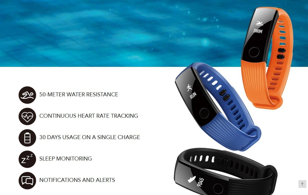 HONOR  Band 3 50 Meters Waterproof Smart Bracelet Heart Rate Monitor