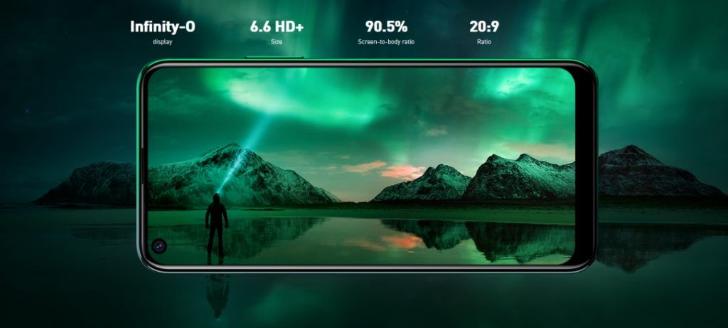 Meet the 6.6 inch 20:9 aspect ratio cinematic wideInfinity-O display. With a slimmer bezel-less design at 90.5% screen-to-body ratio, immerse yourself in brilliant experiences and enjoy the vivid details.