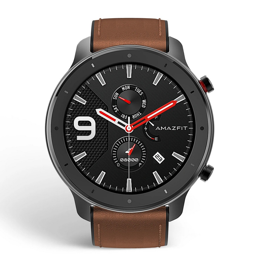 Amazfit GTR 47mm Aluminum alloy Brown leather strap