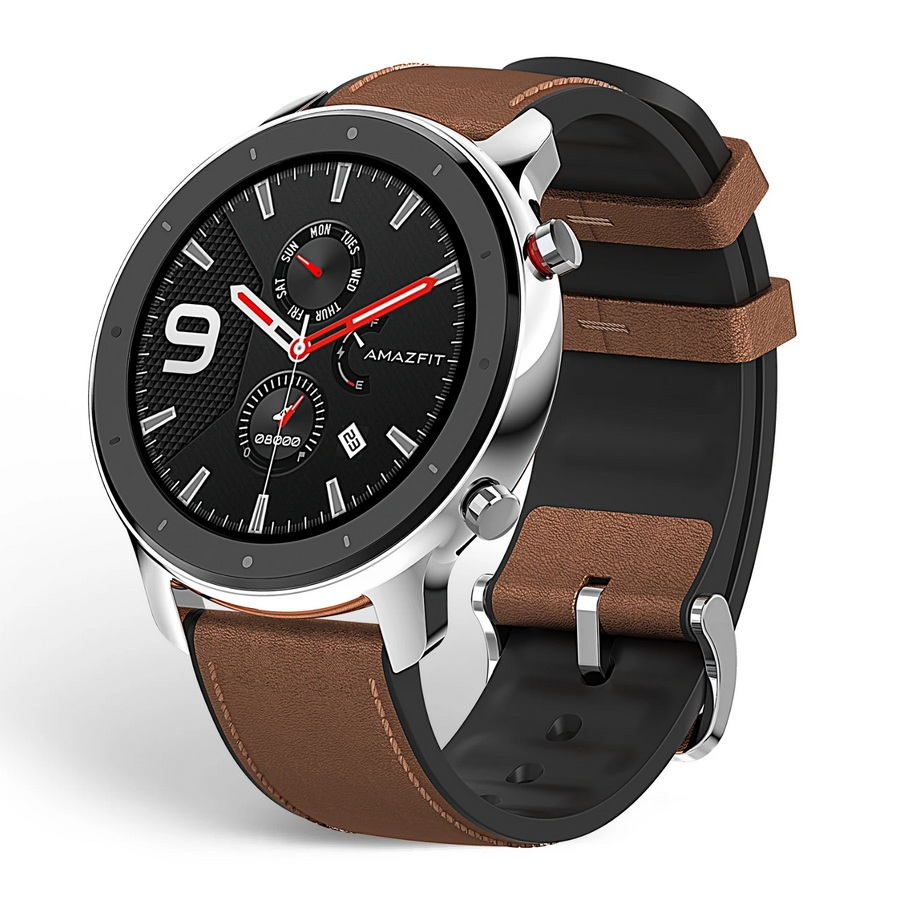 Amazfit GTR 47mm Stainless steel Brown leather strap